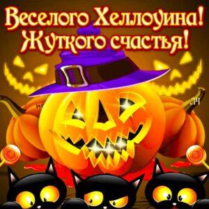 Хэллоуин гиф картинки. Тыква, ведьмы, черные коты, ужас