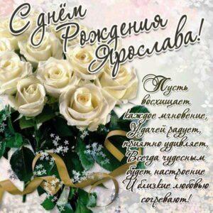 С днем рождения Ярослава картинки, Ярославе открытка с днем рождения, Славуне день рождения, Славочка с днем рождения анимация, Ясе именины картинки, поздравить Ярославу, для Ярославы с днем рождения, белые розы