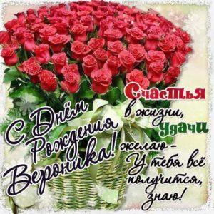 Открытка с розами День  рождения Вероника. Большой букет, розы, гифы, мерцающие, надпись.