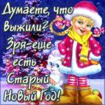 С приколом открытка на Старый новый год